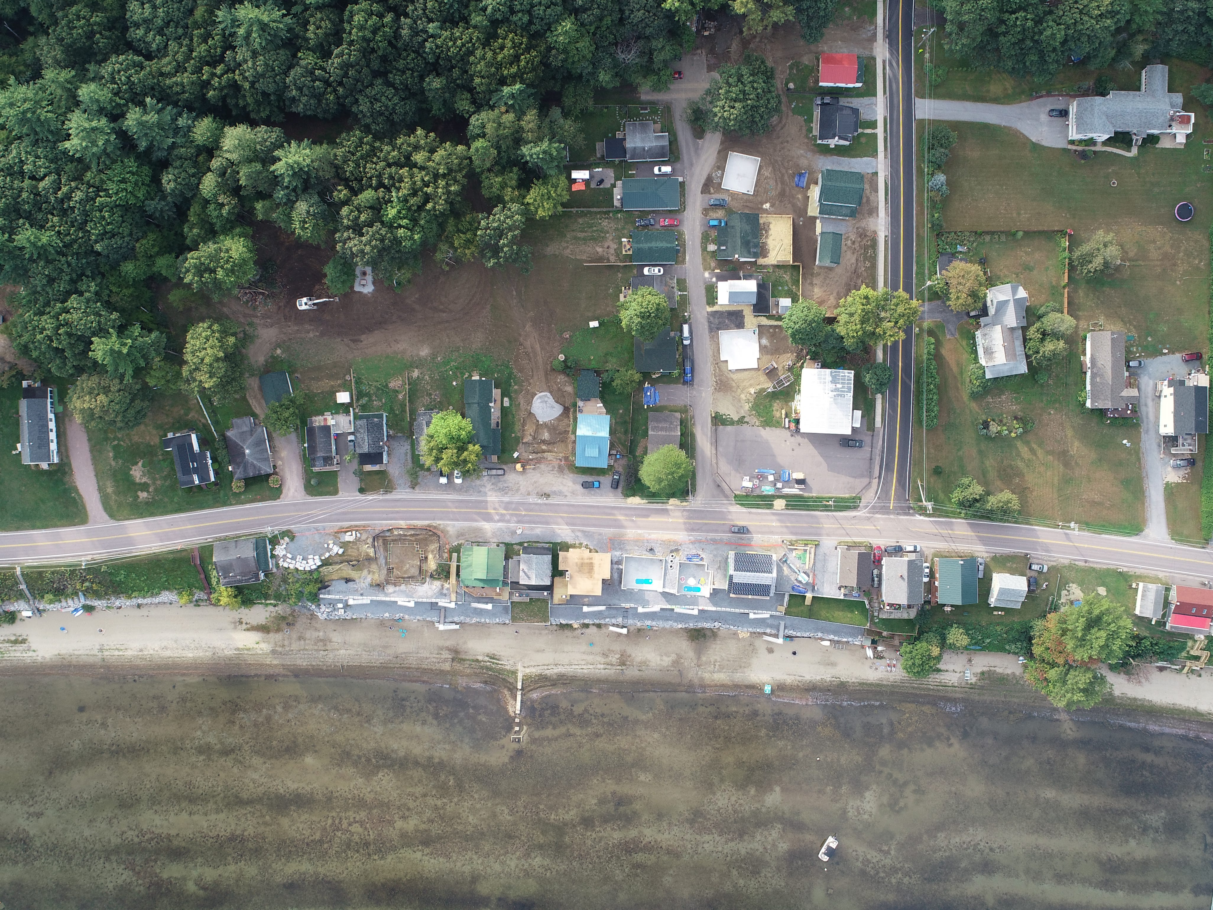 Higher up: An aerial (drone) view of construction of a seawall and new homes on East Lakeshore Drive in Colchester, photographed Sept. 15, 2018.