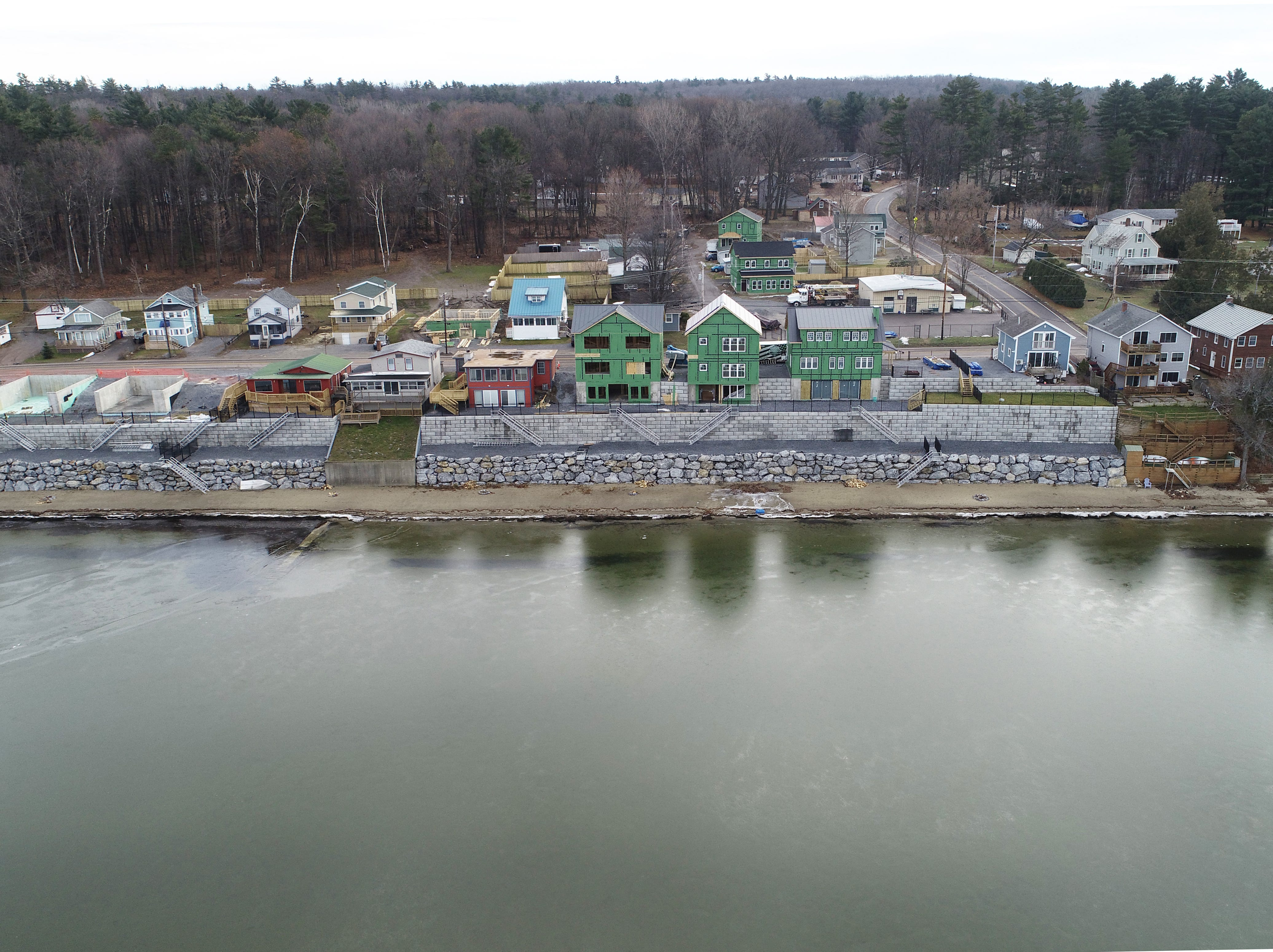 Homes are constructed along East Lakeshore Drive in Colchester, as viewed from a drone above Malletts Bay on Dec. 16, 2019.