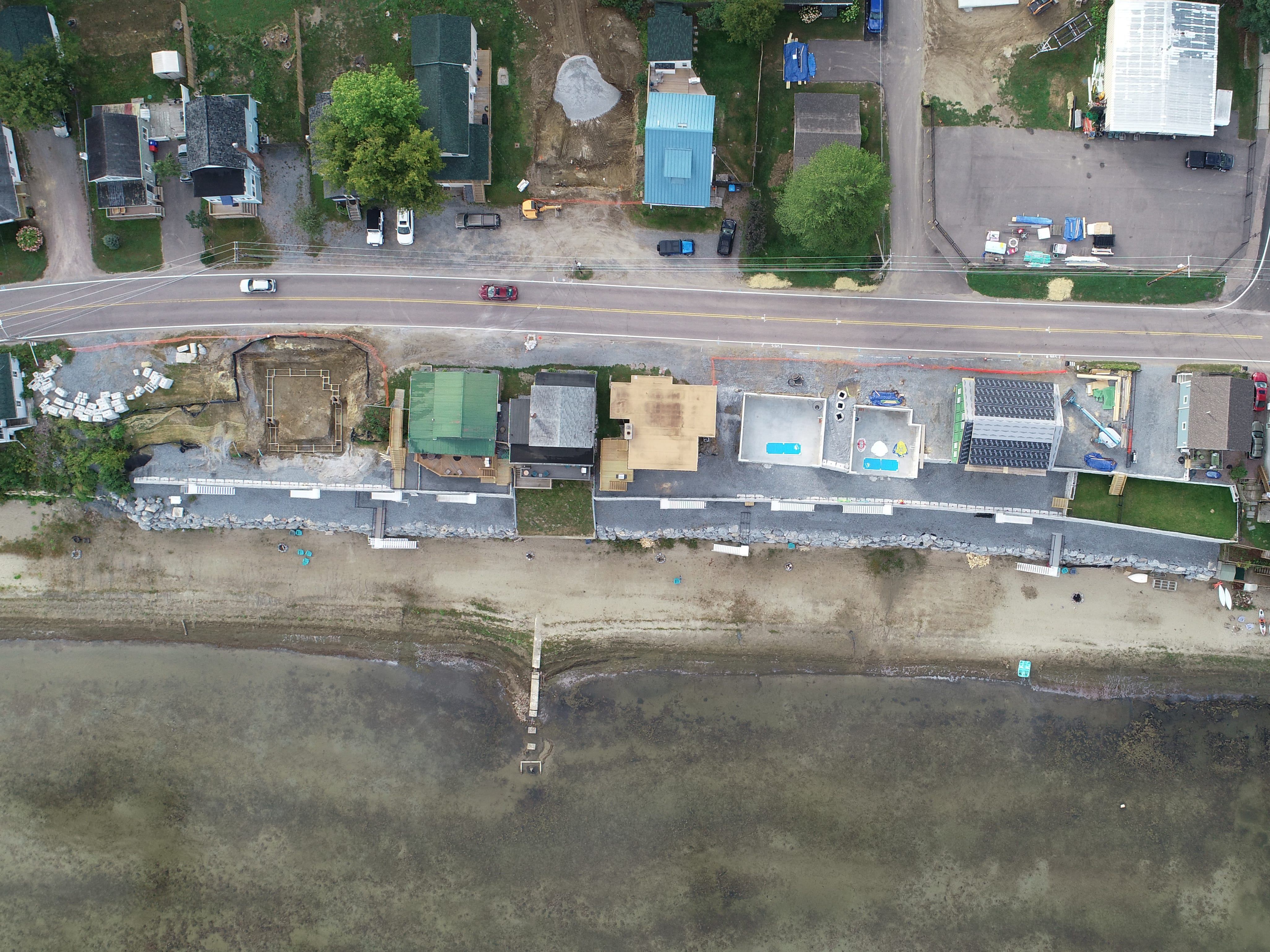 An aerial (drone) view of construction of a seawall and new homes on East Lakeshore Drive in Colchester, photographed Sept. 15, 2018.