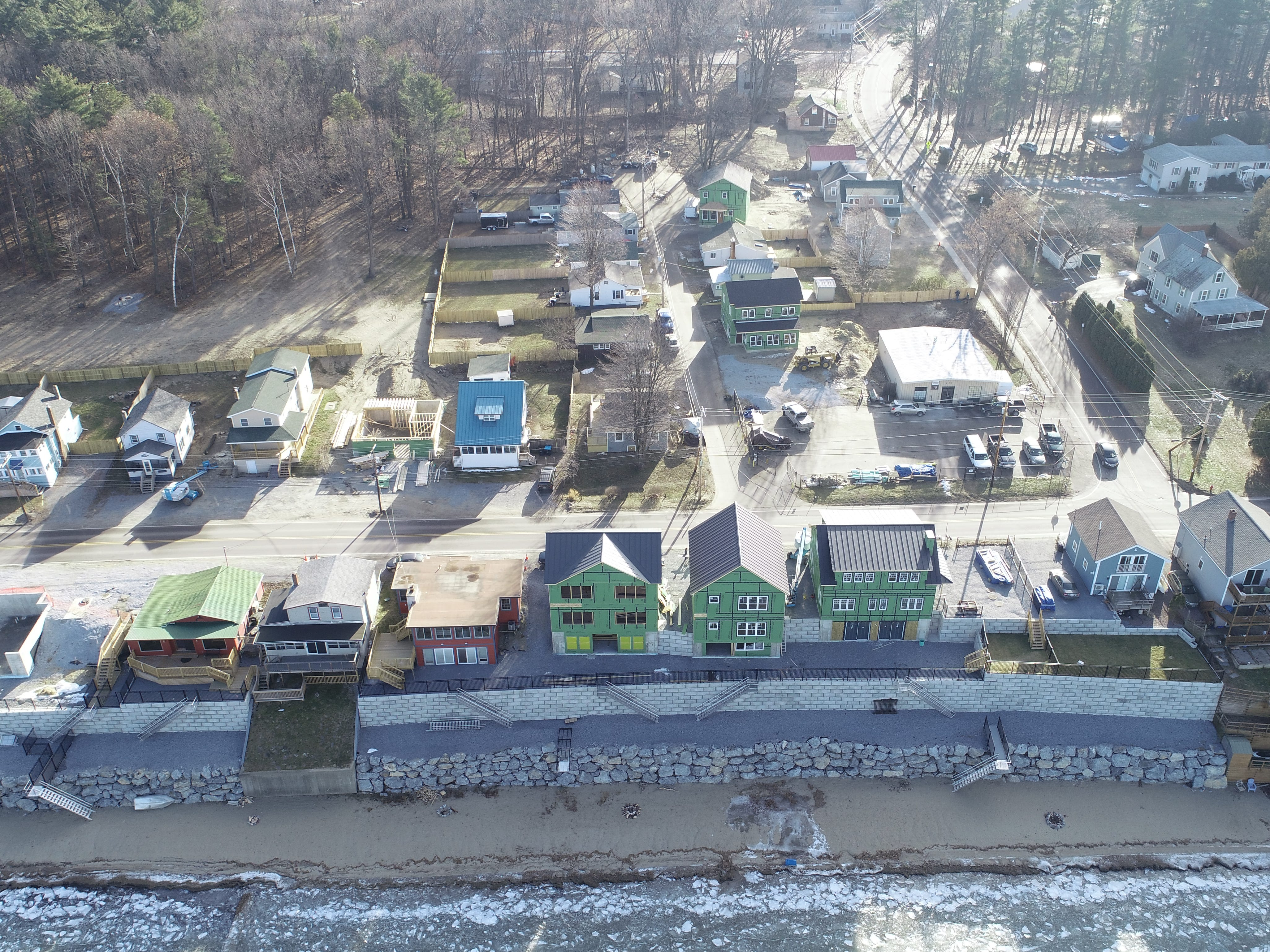 Homes are constructed along East Lakeshore Drive in Colchester, as viewed from a drone above Malletts Bay on Dec. 20, 2019.