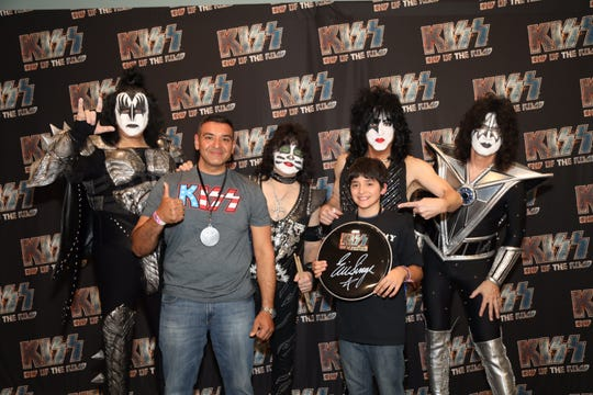 Twelve-year-old Eric Hernandez Jr. of San Antonio was surprised by KISS at the End of the Road Tour in Corpus Christi, Feb. 19, 2019.