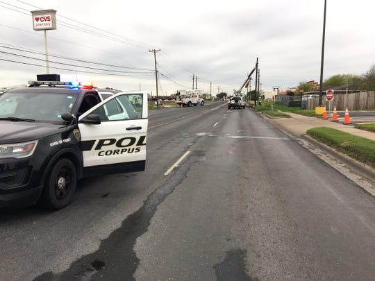 Corpus Christi police shut down a section of Airline Road Wednesday morning after a crash.