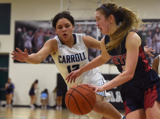 Carroll High School plays Veterans Memorial High School in the girls basketball regional quarterfinal playoff game, Tuesday, Feb. 29, 2019. Carroll won in overtime, 50-45.