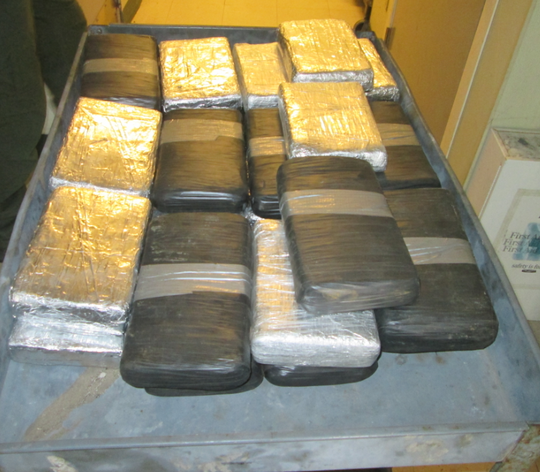 Kingsville Border Patrol Agents seized 33 bundles of cocaine concealed in a tractor-trailer at the Sarita Checkpoint on Saturday, Feb. 16, 2019.