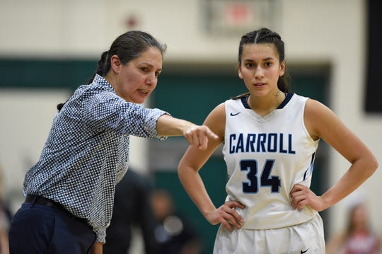 Carroll High School plays Veterans Memorial High School in the girls basketball regional playoff game, Tuesday, Feb. 29, 2019. Carroll won in overtime, 50-45.