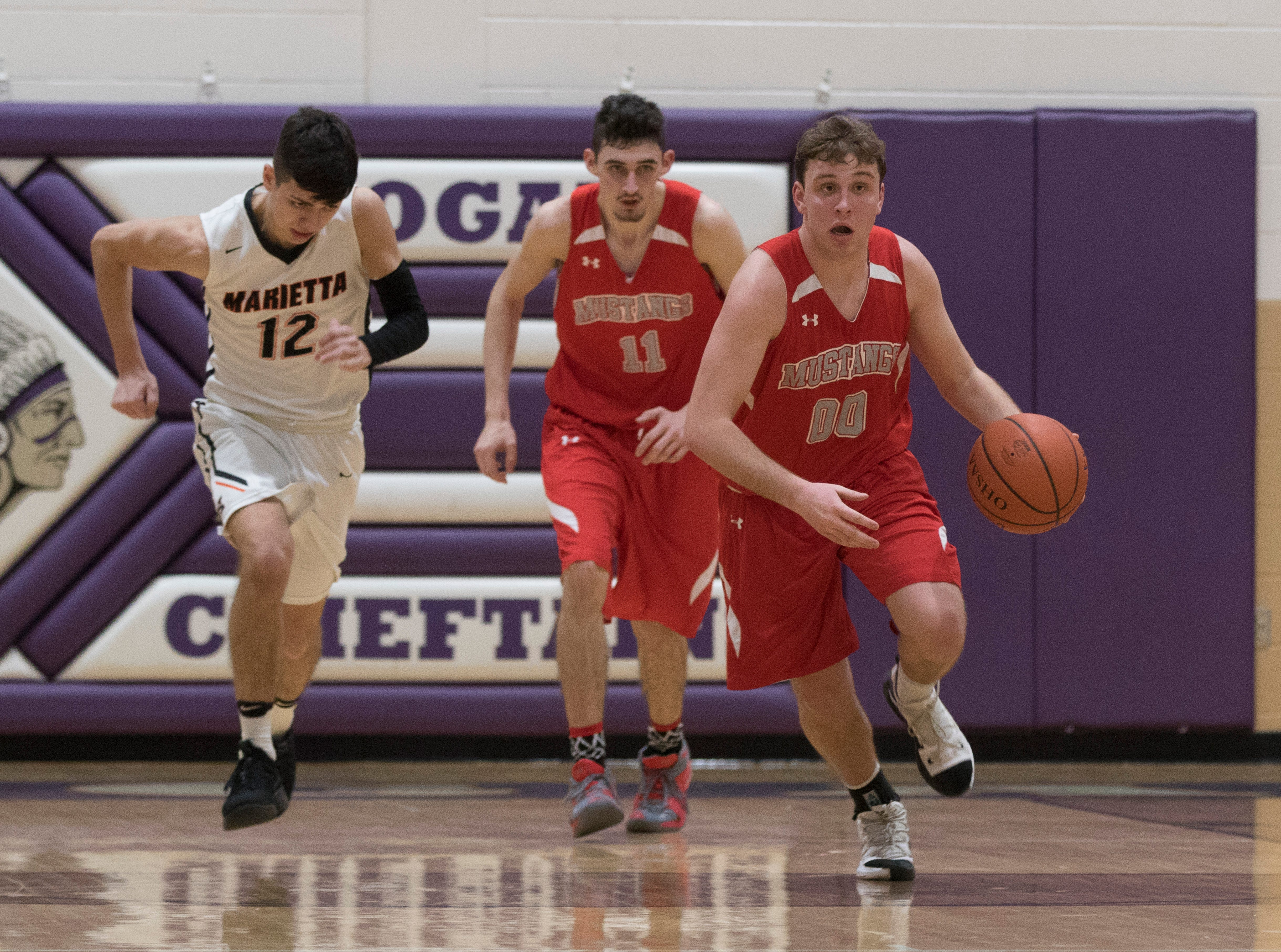 Westfall fell to Marietta 48-43 in a Division II sectional semifinal's game Tuesday night at Logan High School.