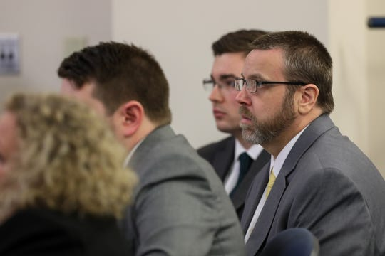 Opening statements for the retrial of David Dooley began Wednesday Feb. 20, 2019. Dooley was convicted for the murder of Michelle Mockbee in the previous trial. David Dooley and his attorney's listen to the prosecution's opening statements.