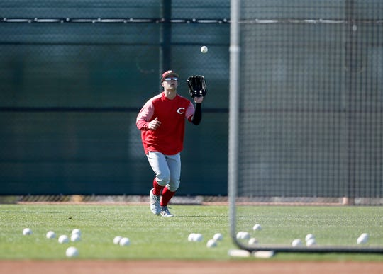 Cincinnati Reds prospect Nick Senzel continues to run through outfield drills at the Cincinnati Reds spring training facility in Goodyear, Ariz., on Wednesday, Feb. 20, 2019.