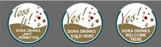 Special Designated Outdoor Recreation Area decals will be used by businesses to show whether drinks are allowed inside.