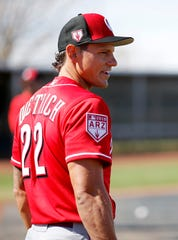 Newest Reds signee, Derek Dietrich, waits for a round of batting practice at the Cincinnati Reds spring training facility in Goodyear, Ariz., on Wednesday, Feb. 20, 2019.