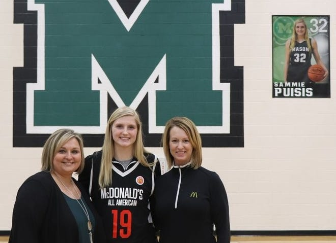 Mason star forward Sammie Puisis received her McDonald's All-American jersey Wednesday afternoon at a ceremony at Mason High School.