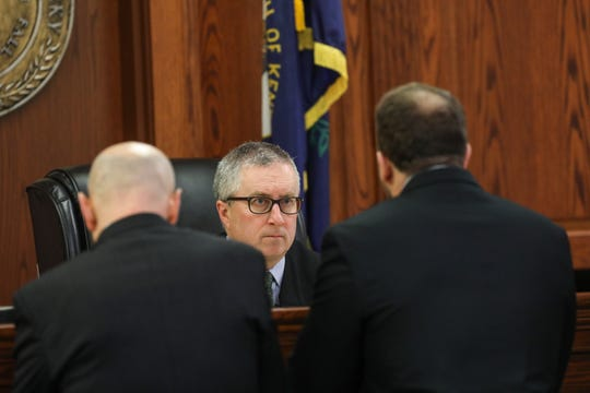 Opening statements for the retrial of David Dooley began Wednesday Feb. 20, 2019. Dooley was convicted for the murder of Michelle Mockbee in the previous trial. Judge James R. Schrand speaks with attorneys before the trial.