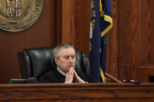 Opening statements for the retrial of David Dooley began Wednesday Feb. 20, 2019. Dooley was convicted for the murder of Michelle Mockbee in the previous trial. Judge James R. Schrand listens to both sides of the opening statements.
