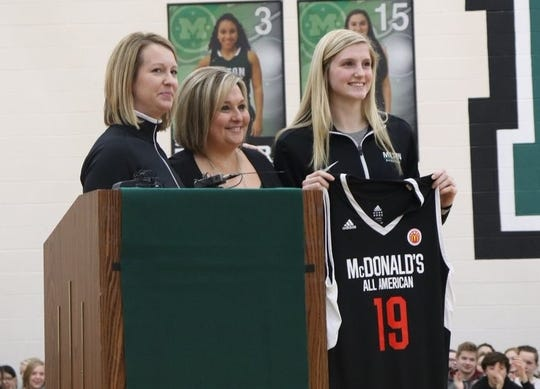 Mason basketball standout Sammie Puisis received her McDonald's All-American jersey Wednesday afternoon at a ceremony at Mason High School.