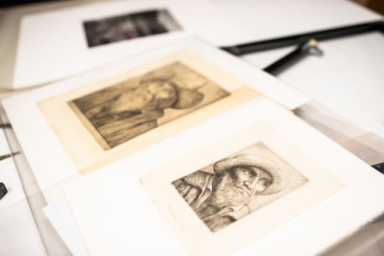 The two discovered Alphonse Legros drypoints lie in the foreground. They were recently discovered in Austin Peay State University's Permanent Collection.