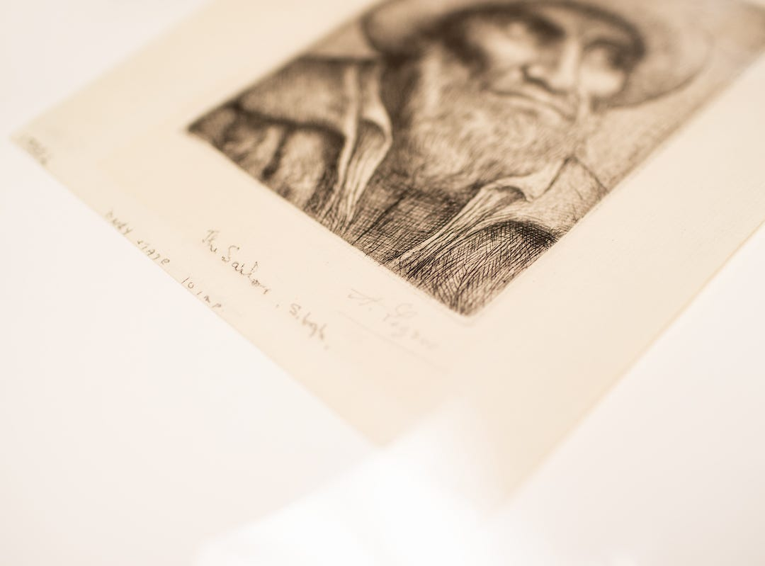 """This piece is signed by """"A. Legros"""" and includes the title, """"The Sailor,"""" and a note that it's one of 10 imprints. It was recently discovered in Austin Peay State University's Permanent Collection."""