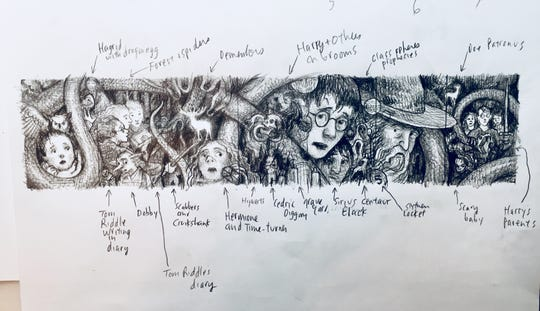 The original sketch of full picture of the 20th anniversary covers of the Harry Potter series as illustrated by Brian Selznick.