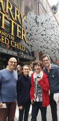 "East Brunswick's Brian Selznick (right), who illustrated the 20th anniversary editions of the Harry Potter series, gets ready to see ""Harry Potter and the Cursed Child"" with husband David Serlin (left), and Hannah and Charles Watson, who posed as the models for Dolores Umbridge, Hermoine Granger and Harry Potter."
