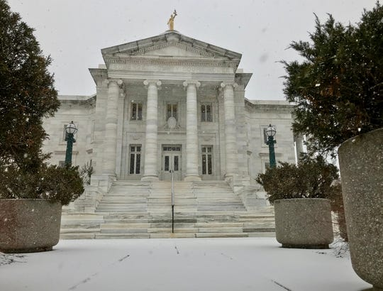 Snow falling on the Somerset County Courthouse, which closed early on Wednesday, Feb 20 due to the weather.