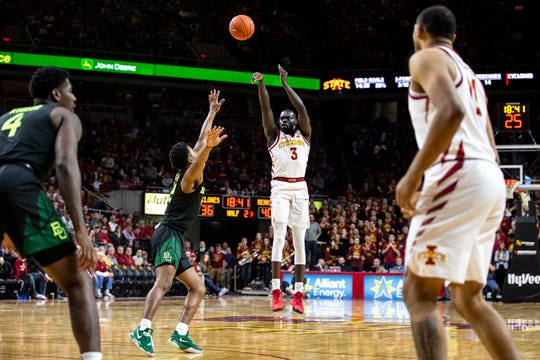 Iowa State's Marial Shayok shoots a three-point shot during the Iowa State men's basketball game against Baylor on Tuesday, Feb. 19, 2019, in Hilton Coliseum. The Cyclones fell to the Bears 69-73.