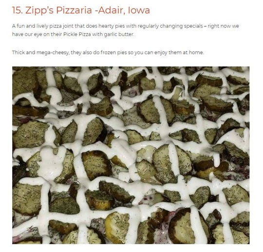 Big 7 Travel recently named Zipp's Pizzaria in Adair as having the best pizza in the state.