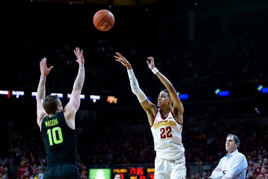 Iowa State's Tyrese Haliburton shoots the ball during the Iowa State men's basketball game against Baylor on Tuesday, Feb. 19, 2019, in Hilton Coliseum. The Cyclones fell to the Bears 69-73.
