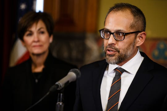 Appeals court judge Christopher McDonald speaks after Gov. Kim Reynolds announced him as her second Supreme Court nominee on Wednesday, Feb. 20, 2019 in Des Moines. McDonald is the first Asian American who will serve on the Iowa Supreme Court.