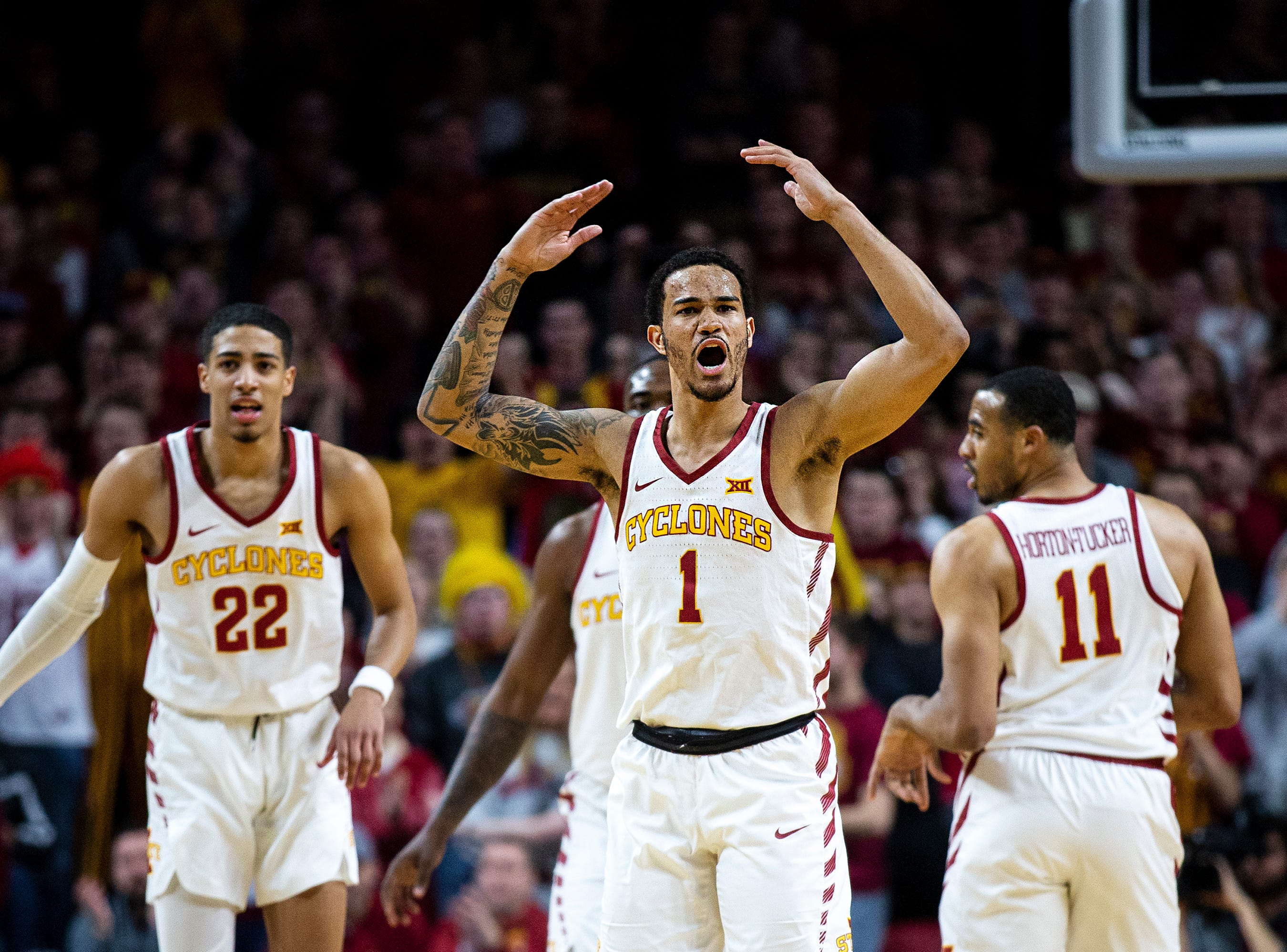 Iowa State's Nick Weiler-Babb tries to get the crowd into the game during the Iowa State men's basketball game against Baylor on Tuesday, Feb. 19, 2019, in Hilton Coliseum. The Cyclones fell to the Bears 69-73.