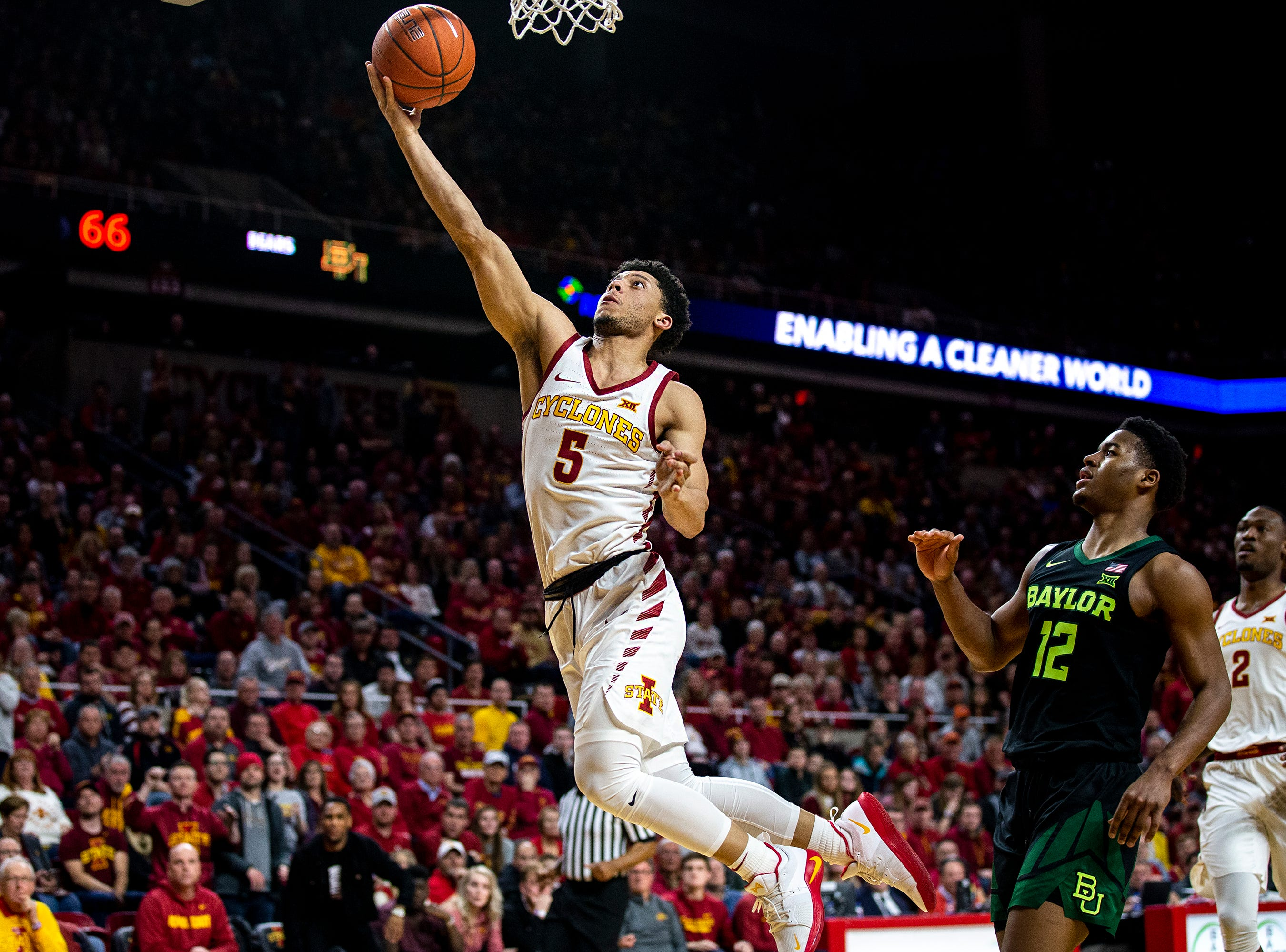 Iowa State's Lindell Wigginton shoots the ball during the Iowa State men's basketball game against Baylor on Tuesday, Feb. 19, 2019, in Hilton Coliseum. The Cyclones fell to the Bears 69-73.