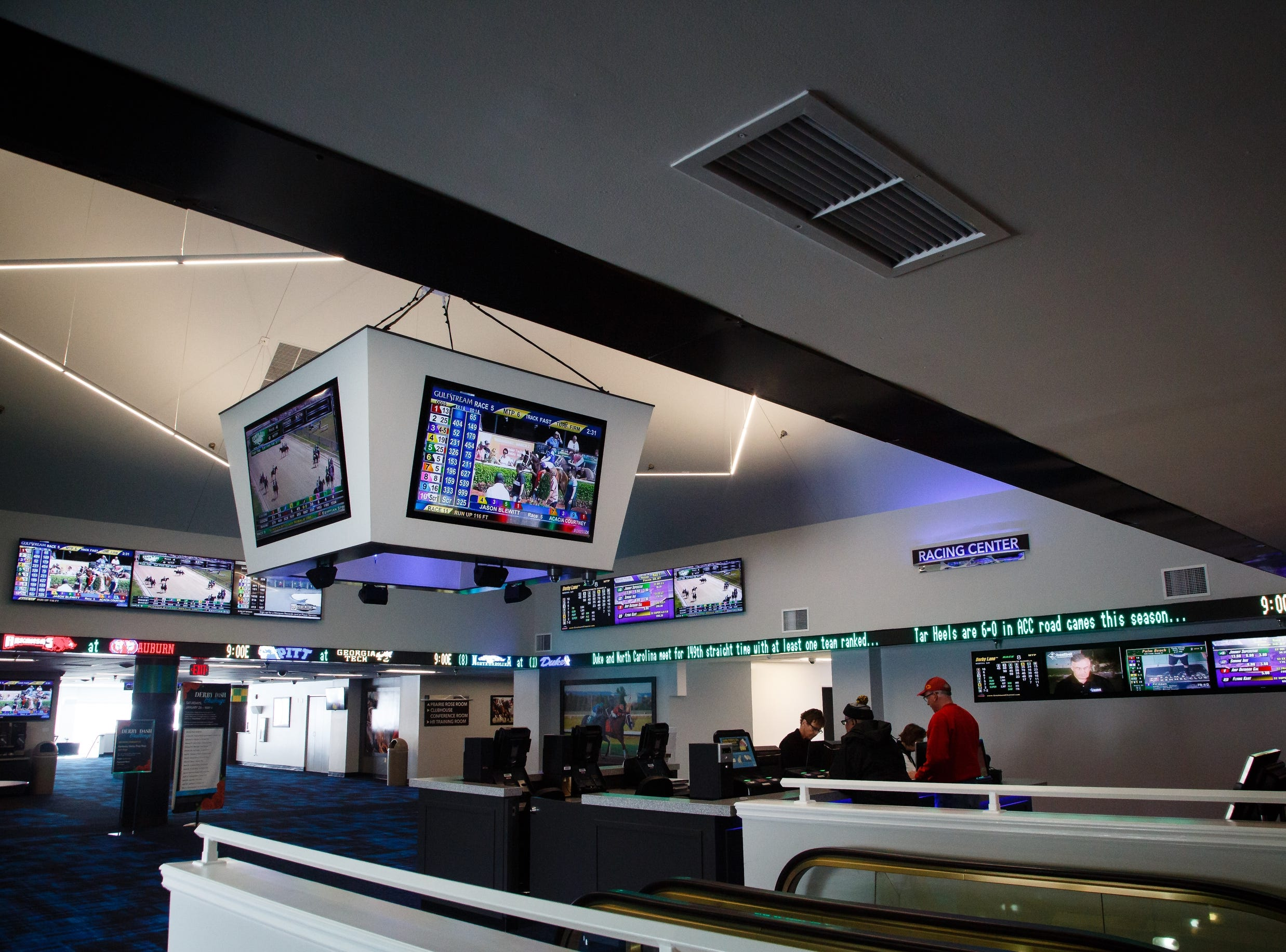 The new sports book at Prairie Meadows sits ready and waiting for the Iowa Legislature to legalize sports gambling on Wednesday, Feb. 20, 2019 in Altoona.