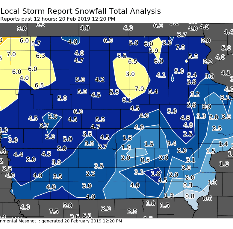 Who got the most snow in Iowa in the last 24 hours?