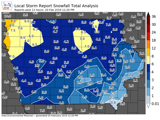 Snowfall over the past 24 hours fell heaviest in northwest Iowa.