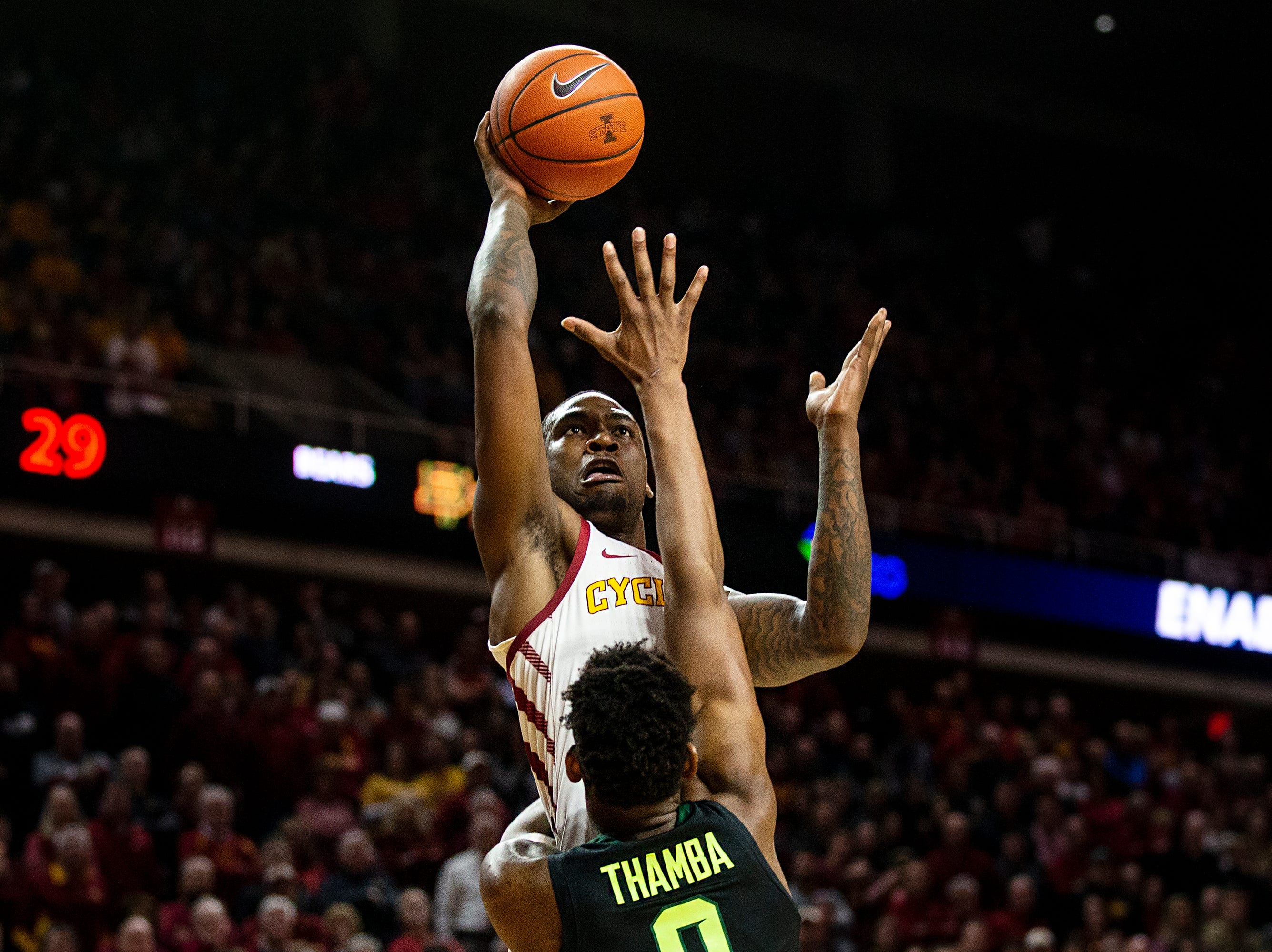 Iowa State's Cameron Lard shoots the ball during the Iowa State men's basketball game against Baylor on Tuesday, Feb. 19, 2019, in Hilton Coliseum.