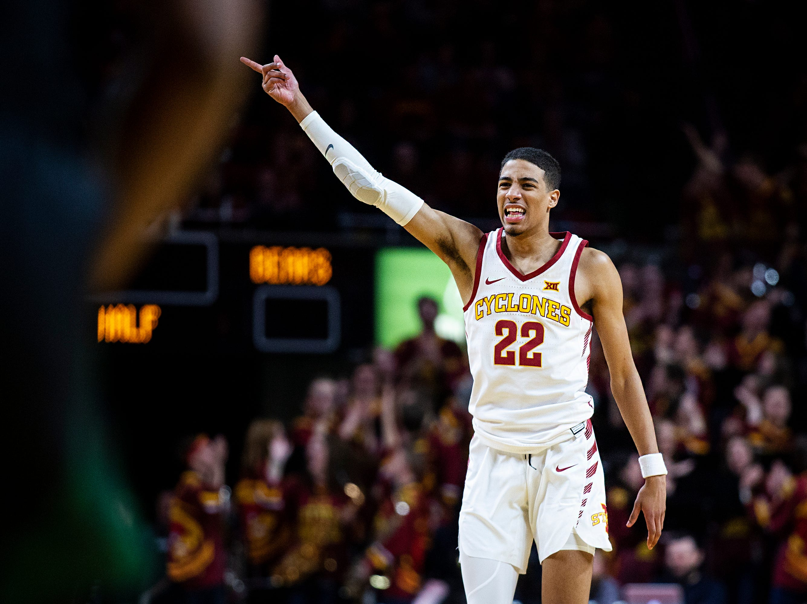 Iowa State's Tyrese Haliburton celebrates after scoring during the Iowa State men's basketball game against Baylor on Tuesday, Feb. 19, 2019, in Hilton Coliseum. The Cyclones fell to the Bears 69-73.