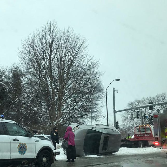 No one hospitalized in rollover that closed portion of Fleur Drive