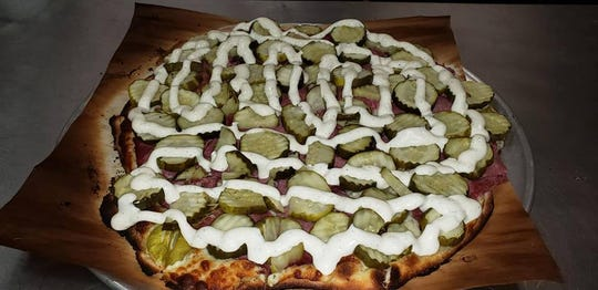 The pickle wrap pizza from Zipp's Pizzaria in Adair.