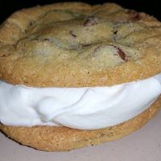 A homemade chocolate chip cookie ice cream sandwich from Zipp's Pizzaria in Adair.