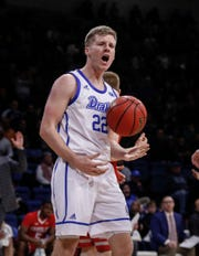 Drake senior guard Brady Ellingson, pictured Feb. 9 in a game against UNI in Des Moines, finished the regular season ranked third nationally in 3-point shooting at 48.2 percent.