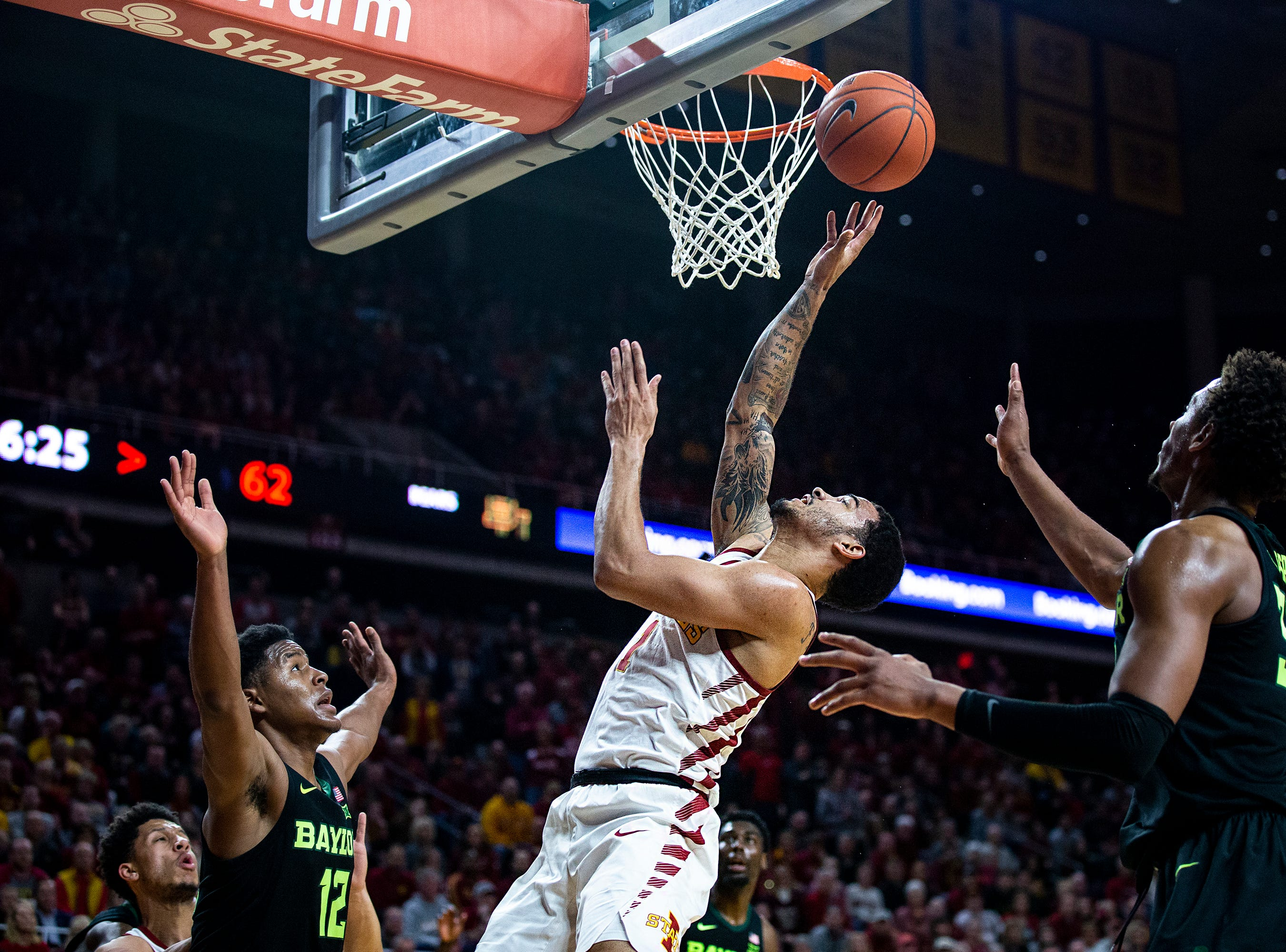 Iowa State's Nick Weiler-Babb shoots a lay-up during the Iowa State men's basketball game against Baylor on Tuesday, Feb. 19, 2019, in Hilton Coliseum. The Cyclones fell to the Bears 69-73.