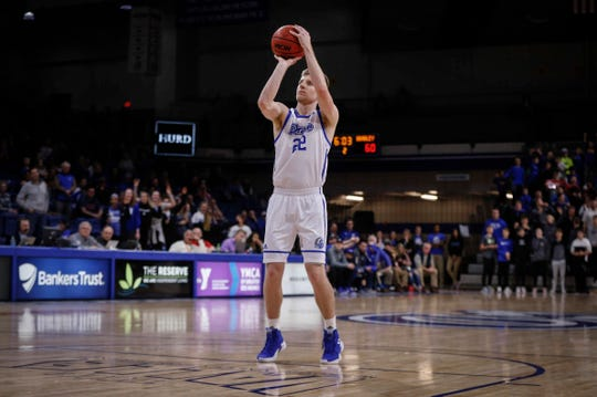 Drake senior Brady Ellingson puts up a free throw following a technical foul called on Bradley in the second half on Tuesday, Feb. 19, 2019, at the Knapp Center in Des Moines.