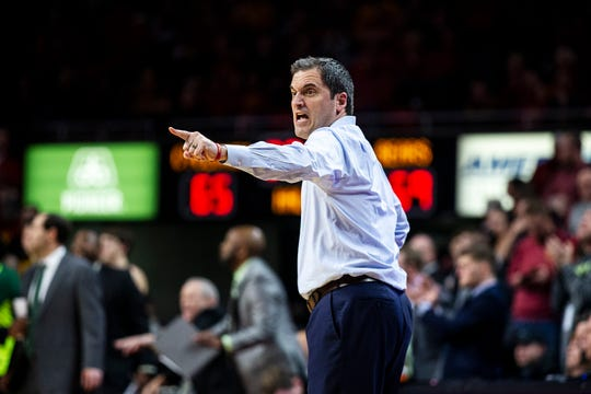 Iowa State Coach Steve Prohm shouts to his team during the Iowa State men's basketball game against Baylor on Tuesday, Feb. 19, 2019, in Hilton Coliseum. The Cyclones fell to the Bears 69-73.