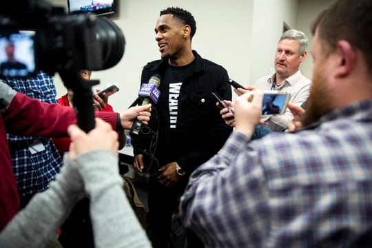 MontŽ Morris a former Iowa State basketball player and current player for the Denver Nuggets, talks to the media before the Iowa State men's basketball game against Baylor on Tuesday, Feb. 19, 2019, in Hilton Coliseum.