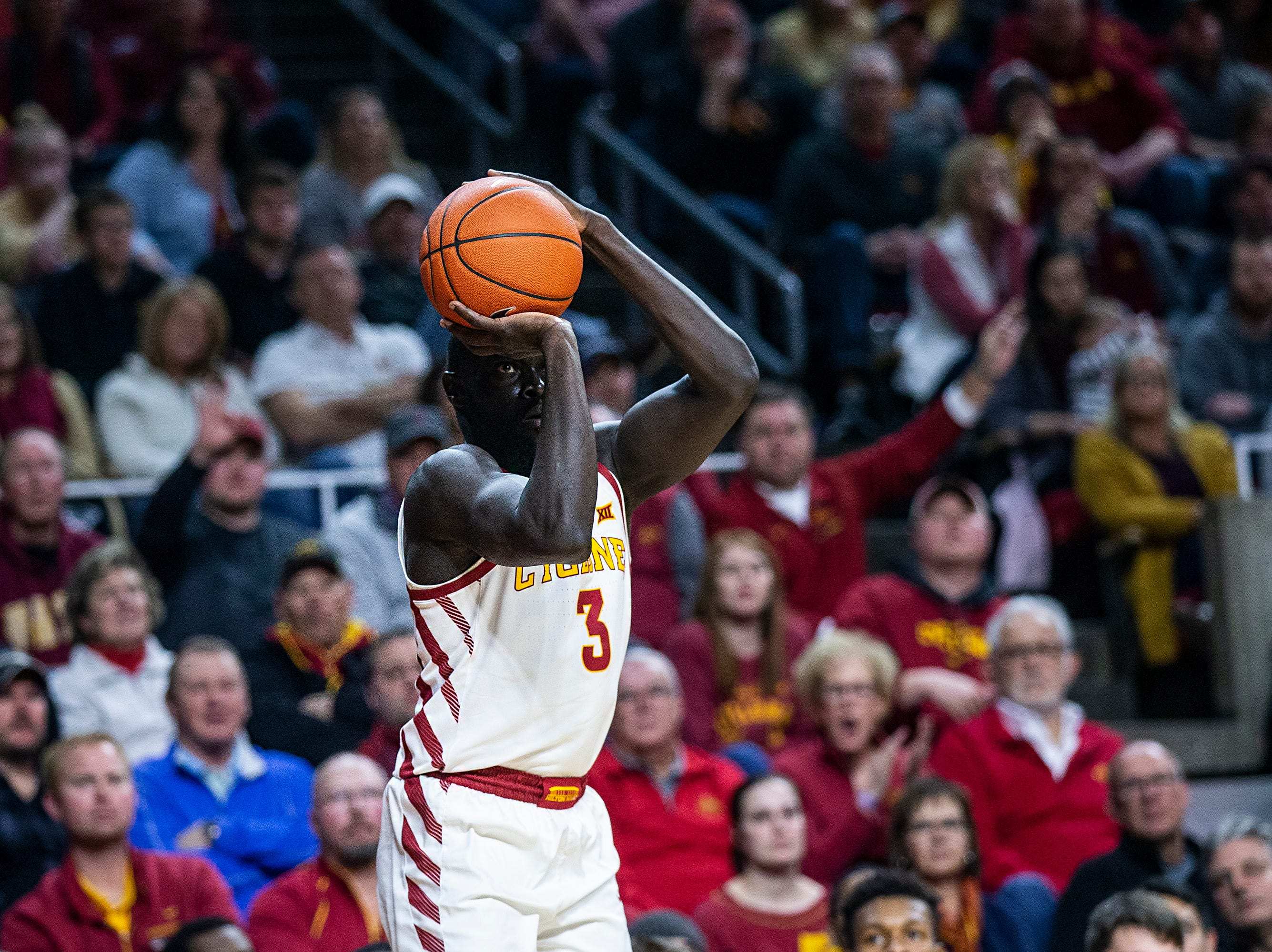 Iowa State's Marial Shayok shoots a three-point-shot during the Iowa State men's basketball game against Baylor on Tuesday, Feb. 19, 2019, in Hilton Coliseum.