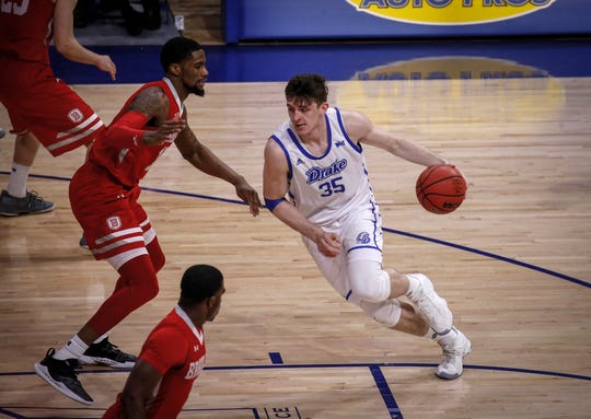 Drake senior Nick McGlynn drives in against Bradley in the second half on Tuesday, Feb. 19, 2019, at the Knapp Center in Des Moines.