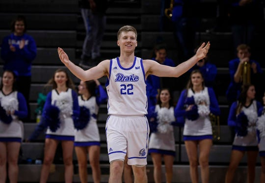 Drake senior Brady Ellingson celebrates in the final seconds of the game as the Bulldogs beat Bradley on Tuesday in Des Moines, Iowa.