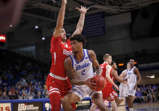 Drake junior Tremell Murphy moves the ball inside against Bradley in the second half on Tuesday, Feb. 19, 2019, at the Knapp Center in Des Moines.