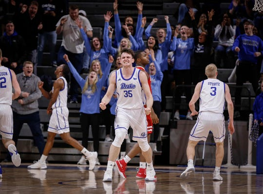 Drake senior Nick McGlynn reacts after the Bulldogs scored a last-second basket to end the first half against Bradley on Tuesday, Feb. 19, 2019, at the Knapp Center in Des Moines.