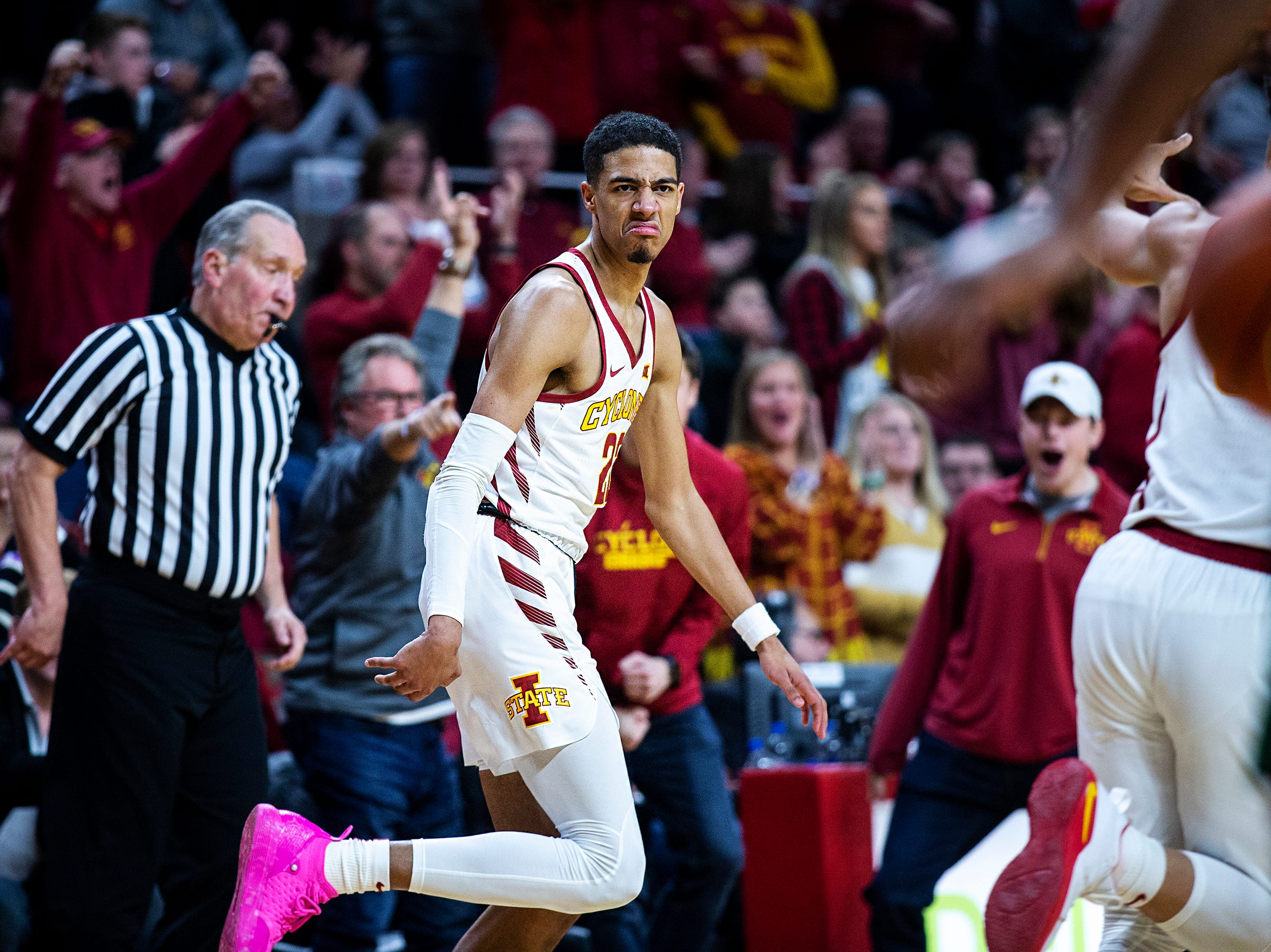 Iowa State's Tyrese Haliburton scrunches his face after making a three-point shot during the Iowa State men's basketball game against Baylor on Tuesday, Feb. 19, 2019, in Hilton Coliseum. The Cyclones fell to the Bears 69-73.