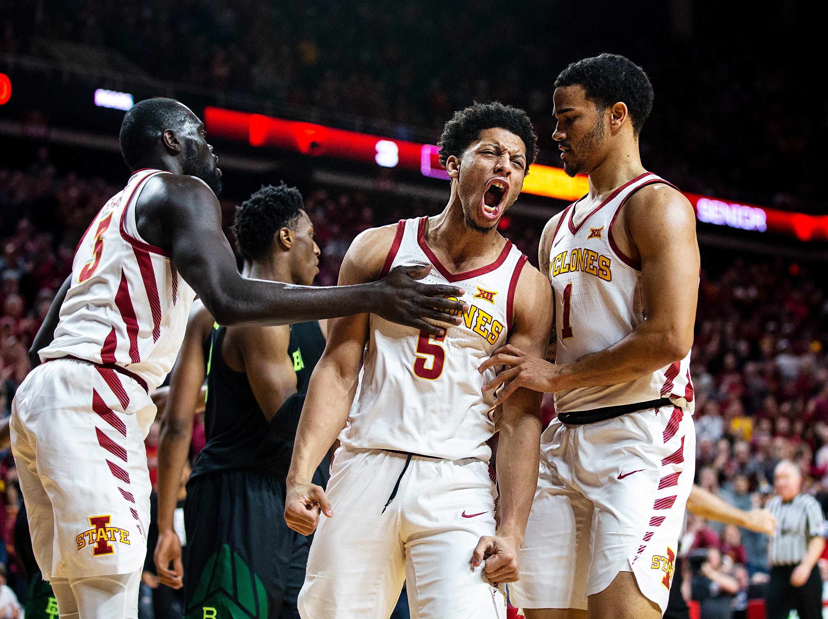 Iowa State's Lindell Wigginton cheers after Iowa State's Marial Shayok is fouled on a lay-up during the Iowa State men's basketball game against Baylor on Tuesday, Feb. 19, 2019, in Hilton Coliseum. The Cyclones fell to the Bears 69-73.