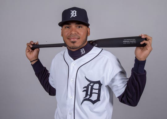 Detroit Tigers third baseman Harold Castro (70) poses for a headshot on media day at Joker Marchant Stadium.